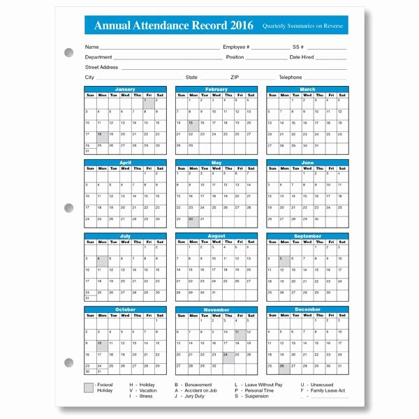 Employee attendance Record Template Awesome Employee attendance Calendar