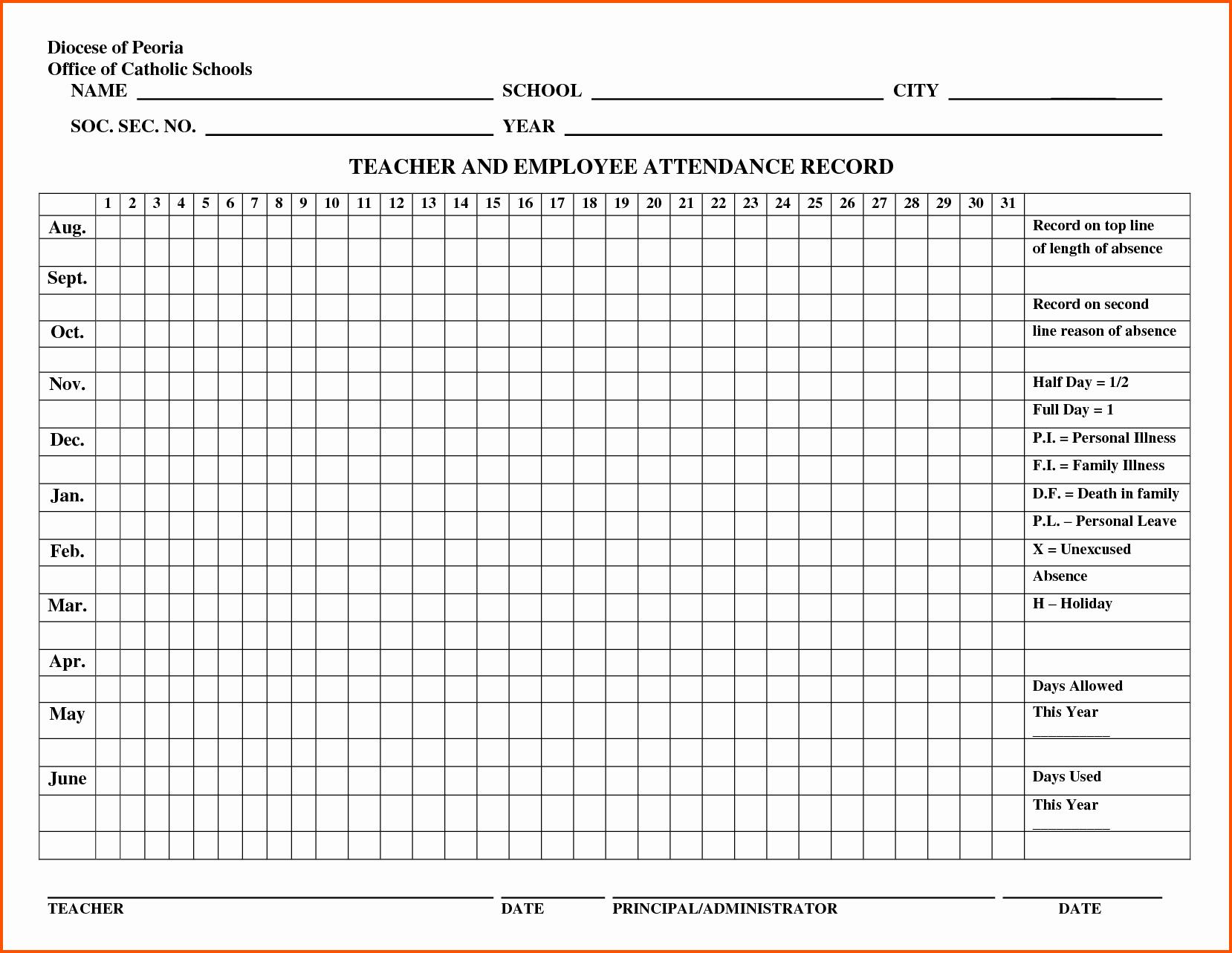 Employee attendance Record Template Beautiful Employee attendance Record Template