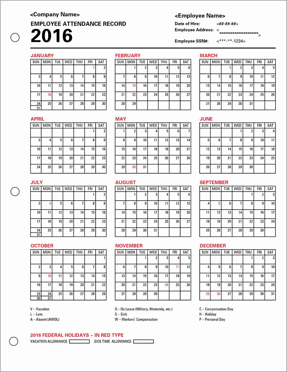 Employee attendance Record Template Elegant Employee attendance Calendar