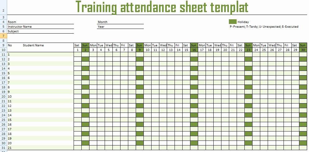 Employee attendance Record Template Fresh Get Training attendance Spreadsheet Template Excel
