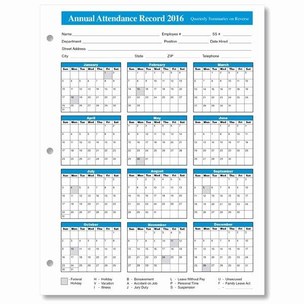 Employee attendance Record Template Inspirational Employee attendance Calendar