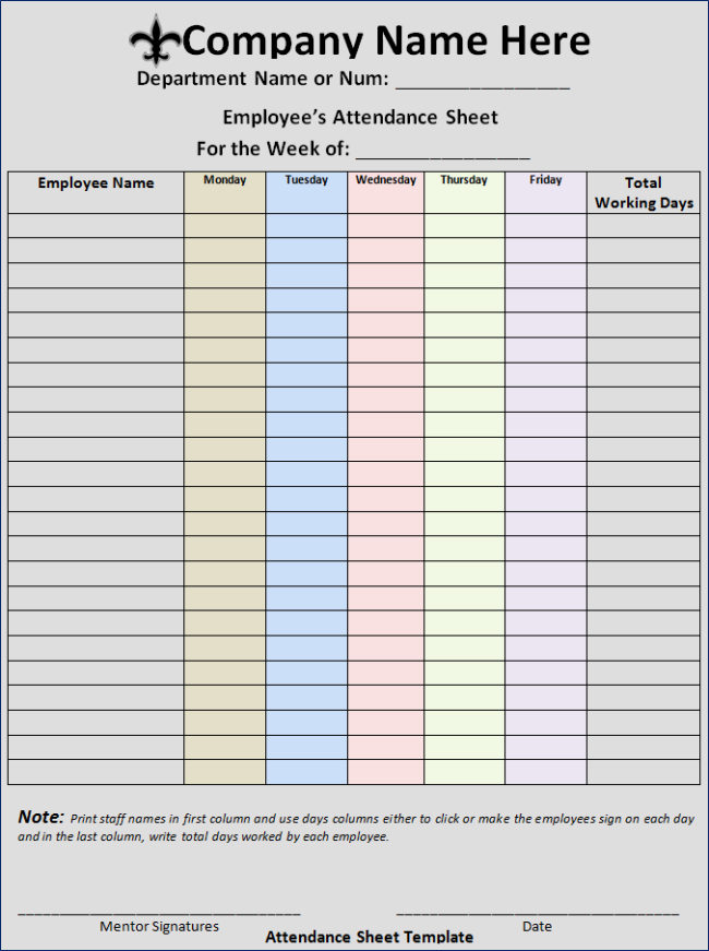 Employee attendance Record Template Inspirational Free Printable Employee attendance form