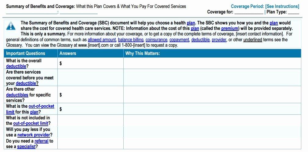 Employee Benefits Summary Template Beautiful New Summary Of Benefits and Coverage Template Posted