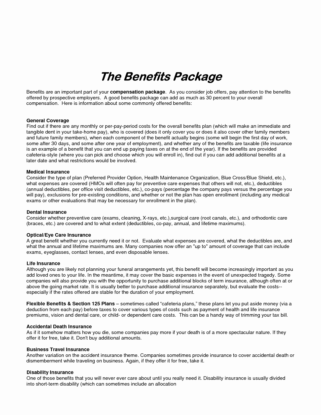 Employee Benefits Summary Template Fresh Best S Of Sample Employee Benefit Package Sample