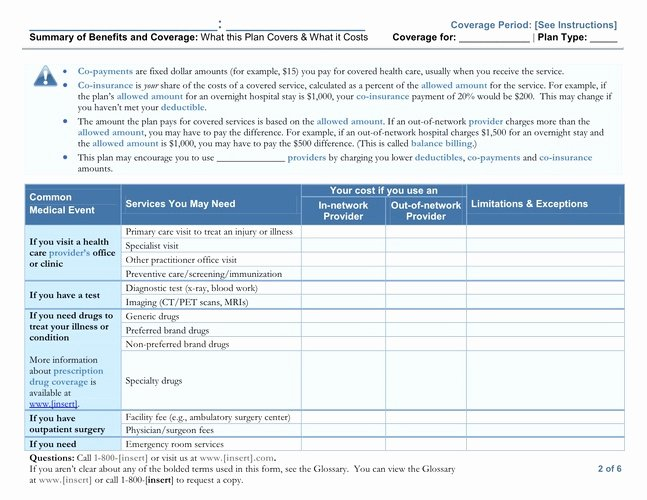 Employee Benefits Summary Template Lovely Summary Of Benefits Coverage Guidelines Released Another