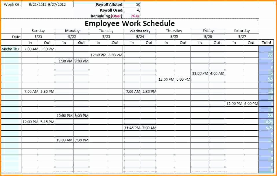 Employee Break Schedule Template Awesome Restaurant Employee Schedule Template Excel and House