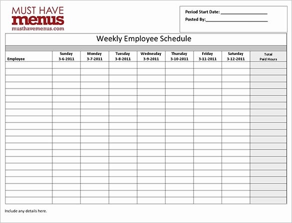 Employee Break Schedule Template Elegant Employee Work Schedule Template 16 Free Word Excel