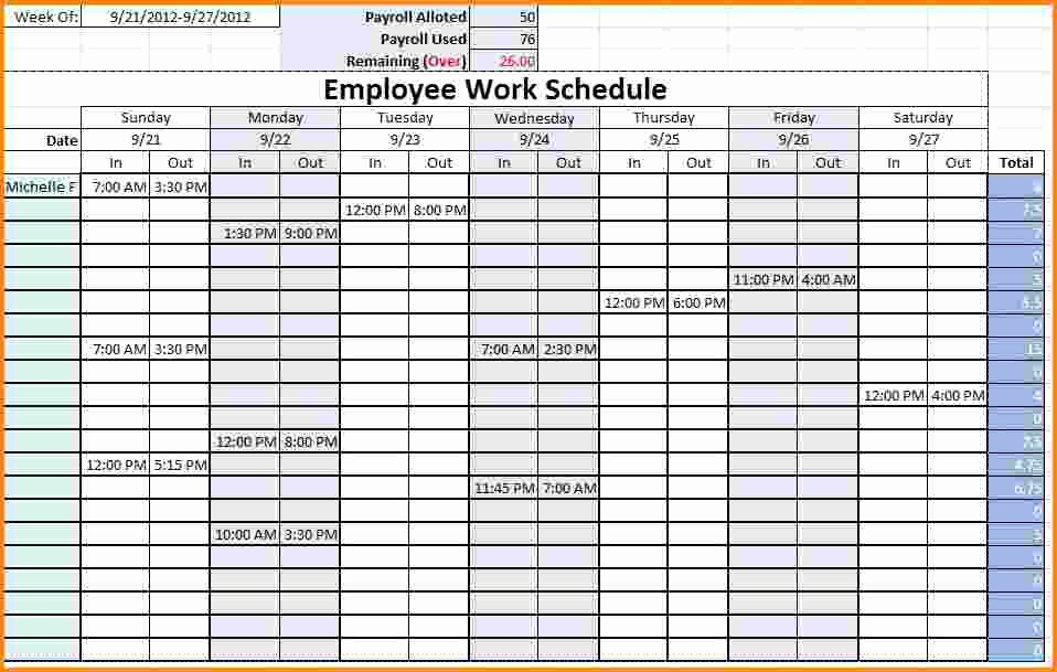 Employee Break Schedule Template Fresh 8 Work Schedule Template