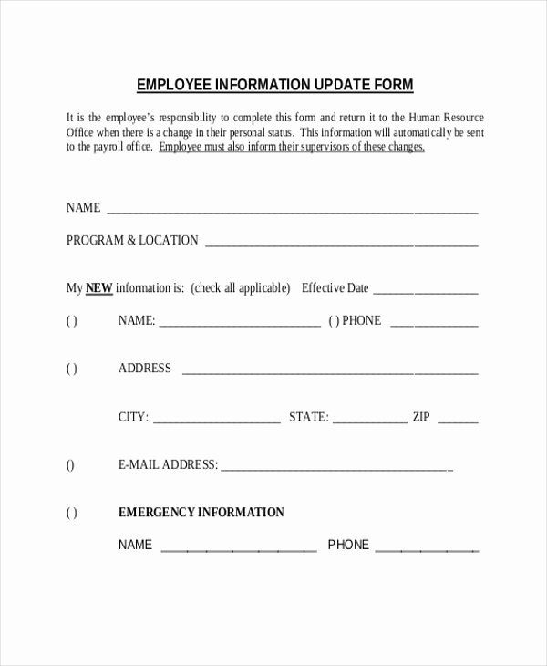 Employee Change form Template Beautiful Employee Address Change form Template Alfonsovacca