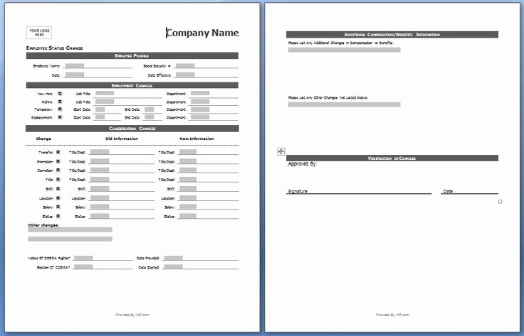 Employee Change form Template Best Of Employee Status Change form My Board