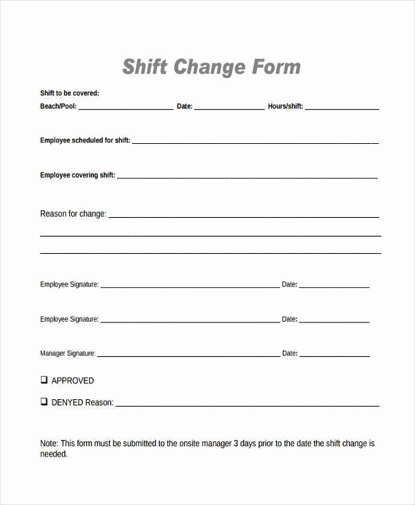 Employee Change form Template Best Of Sample Employee Shift Change forms 7 Free Documents In