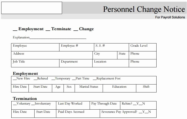Employee Change form Template Fresh 28 Of Personnel Change Notice Template