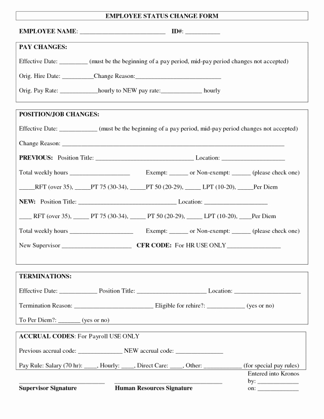 Employee Change form Template Fresh Employee Status Change forms Find Word Templates