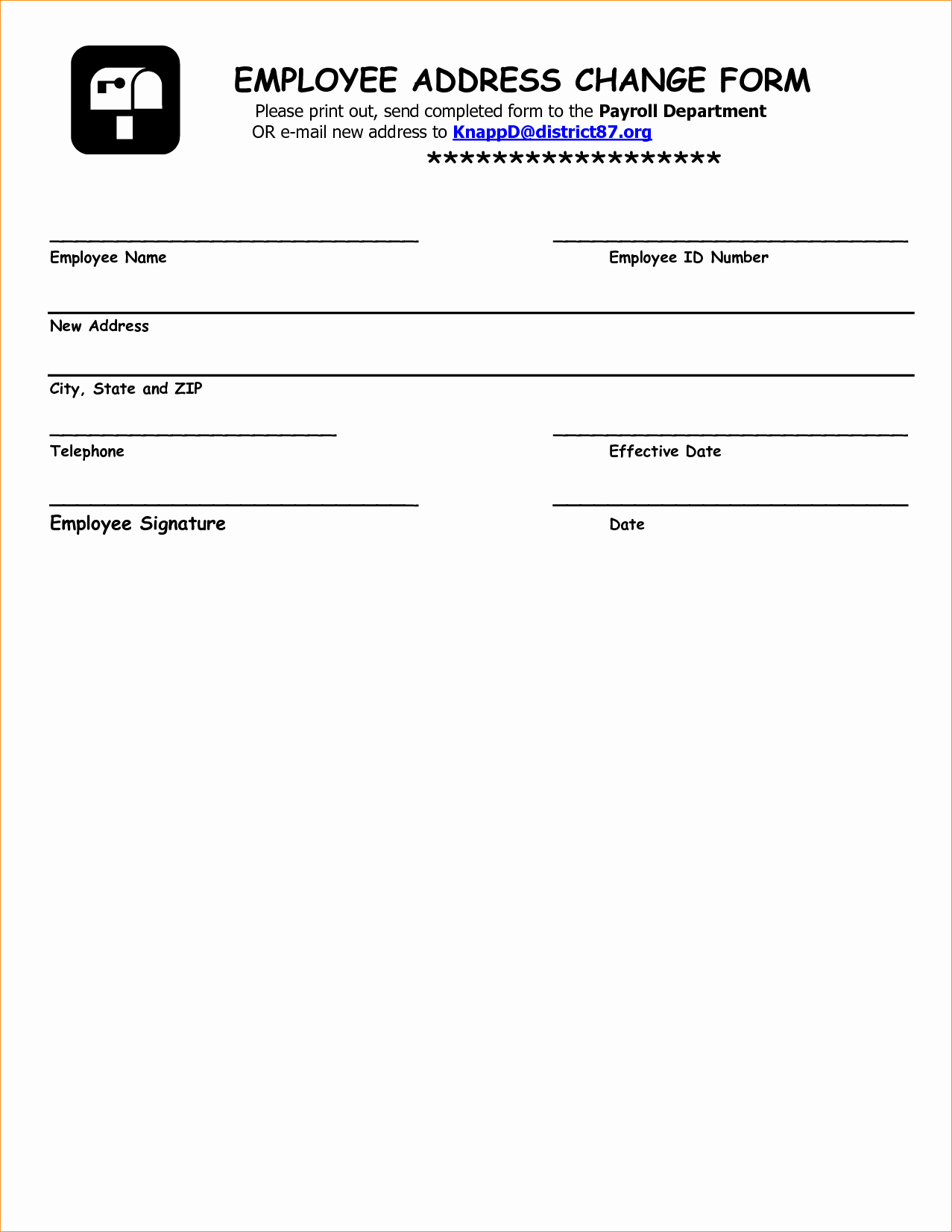 Employee Change form Template New Address form Template Business Proposal Templated