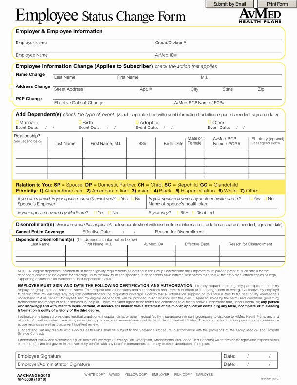 Employee Change form Template New Employee Status Change forms Word Excel Samples
