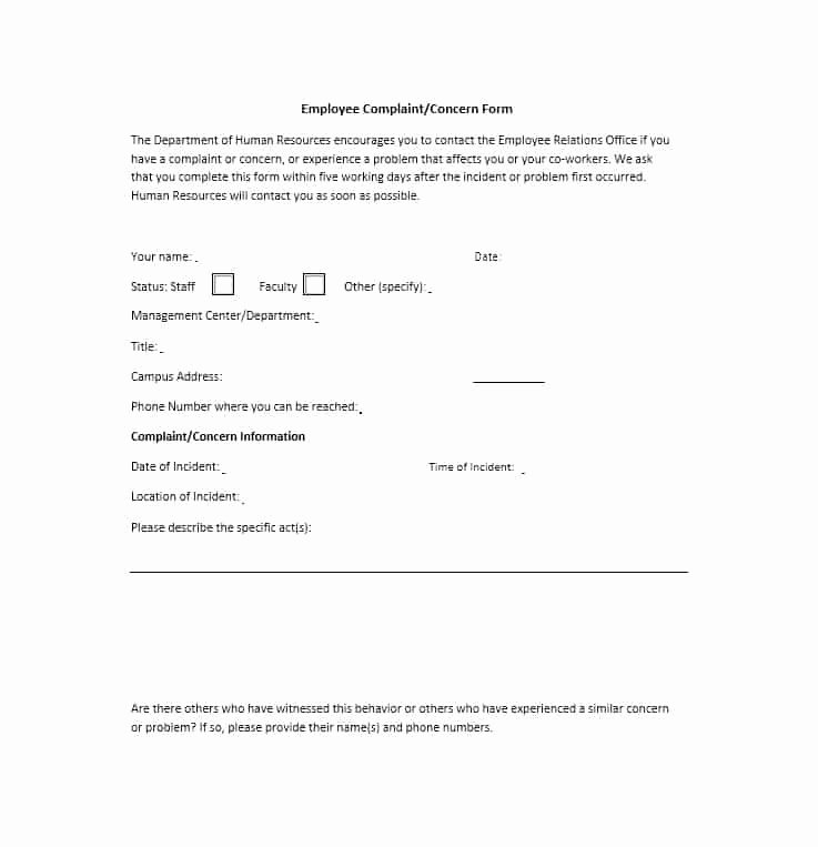 Employee Complaint form Template Awesome 49 Employee Plaint form & Letter Templates Template