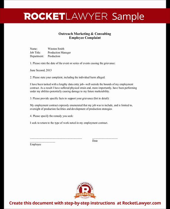 Employee Complaint form Template Fresh Employee Plaint form Letter Template & Sample