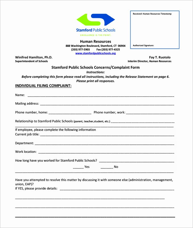 Employee Complaint form Template Inspirational 33 Hr Plaint forms Free Sample Example format