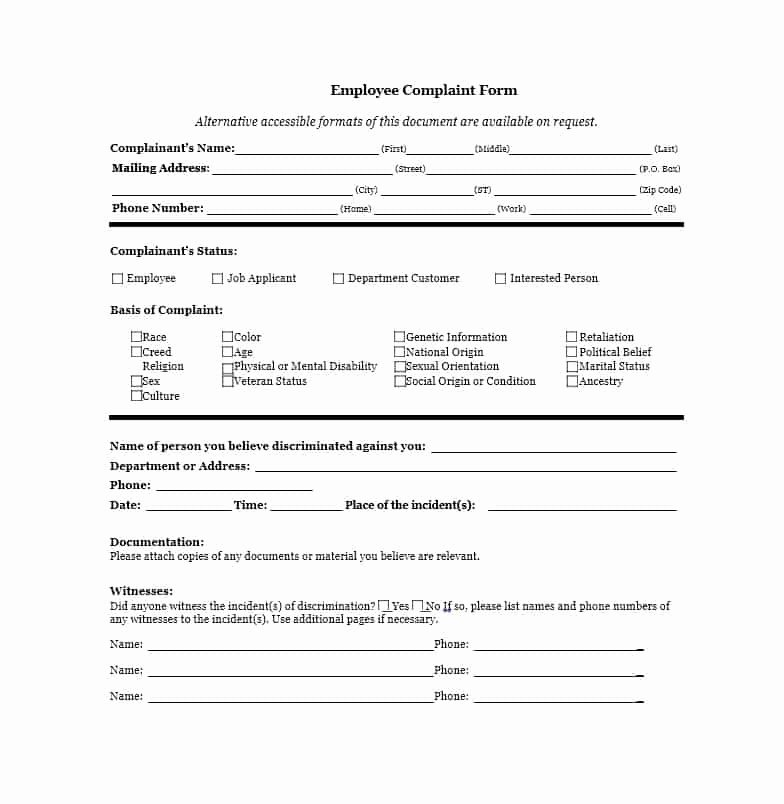 Employee Complaint form Template Lovely 49 Employee Plaint form & Letter Templates Template