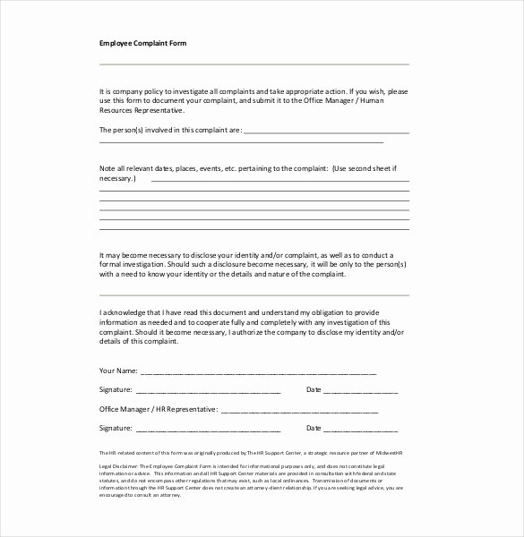 Employee Complaint form Template New Hr Plaint Letter – 10 Free Word Pdf Documents