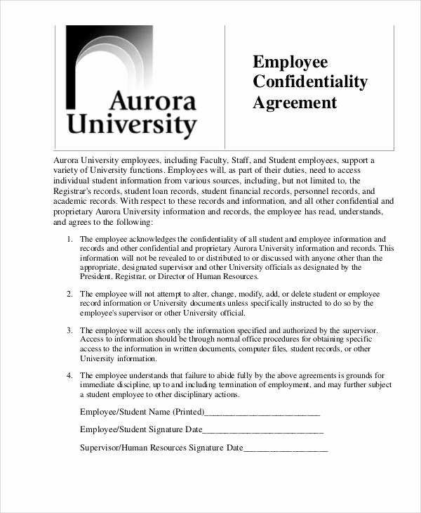 Employee Confidentiality Agreement Template Awesome 7 Hr Confidentiality Agreements – Free Sample Example
