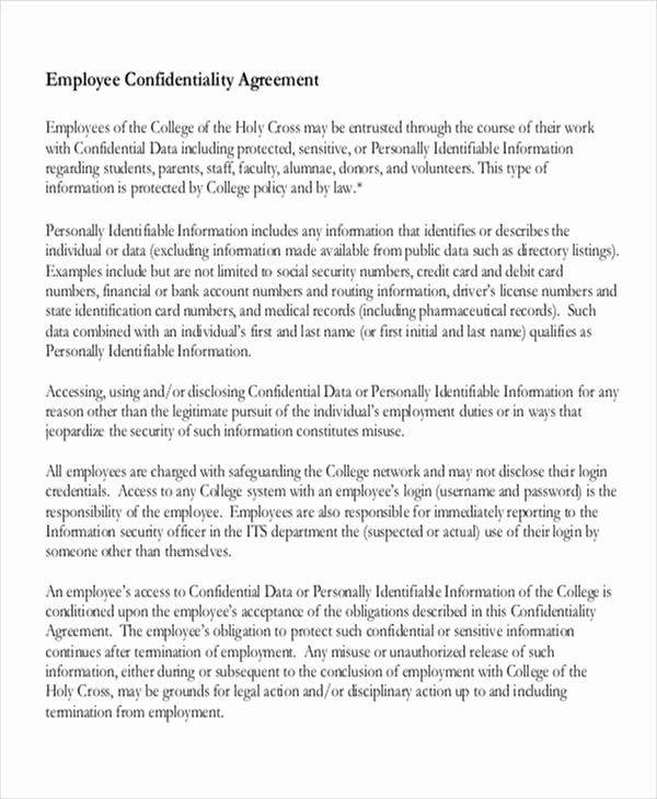 Employee Confidentiality Agreement Template Beautiful 9 Employee Confidentiality Agreements – Free Sample