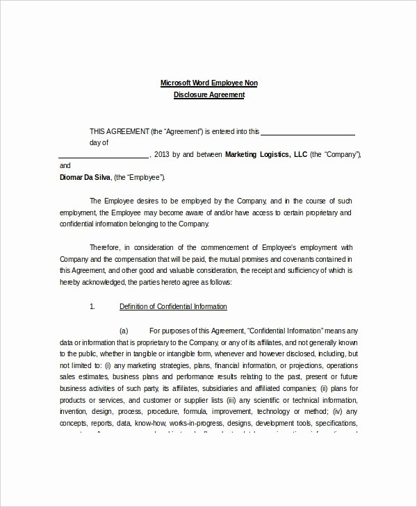sample non disclosure and confidentiality agreement