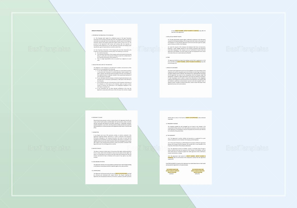 Employee Confidentiality Agreement Template Elegant Employee Confidentiality Agreement Template In Word