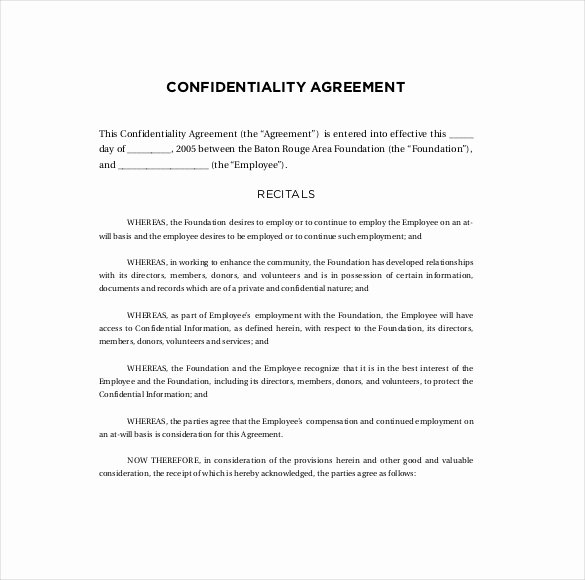 Employee Confidentiality Agreement Template Fresh Confidentiality Agreement Template Free Pdf Templates
