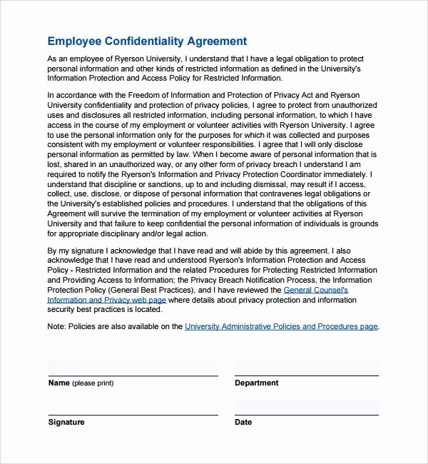 Employee Confidentiality Agreement Template Luxury 9 Employee Confidentiality Agreements