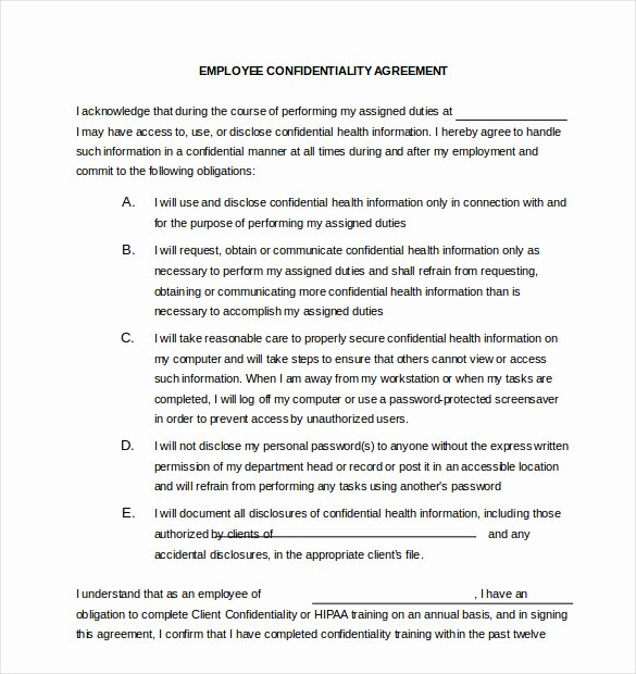 Employee Confidentiality Agreement Template New 25 Confidentiality Agreement Templates Doc Pdf