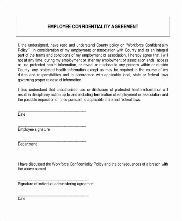 Employee Confidentiality Agreement Template New Sample Confidentiality Agreement form 9 Free Documents