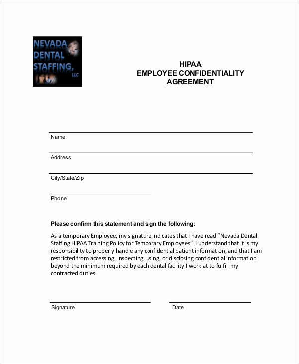 Employee Confidentiality Agreement Template Unique Employee Confidentiality Agreement Template Free
