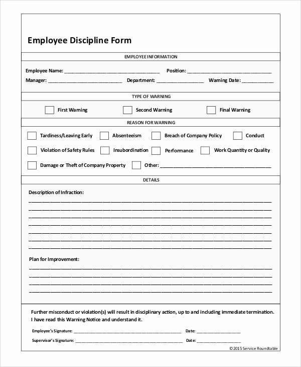 Employee Discipline form Template Awesome Sample Employee Discipline form 10 Examples In Pdf Word
