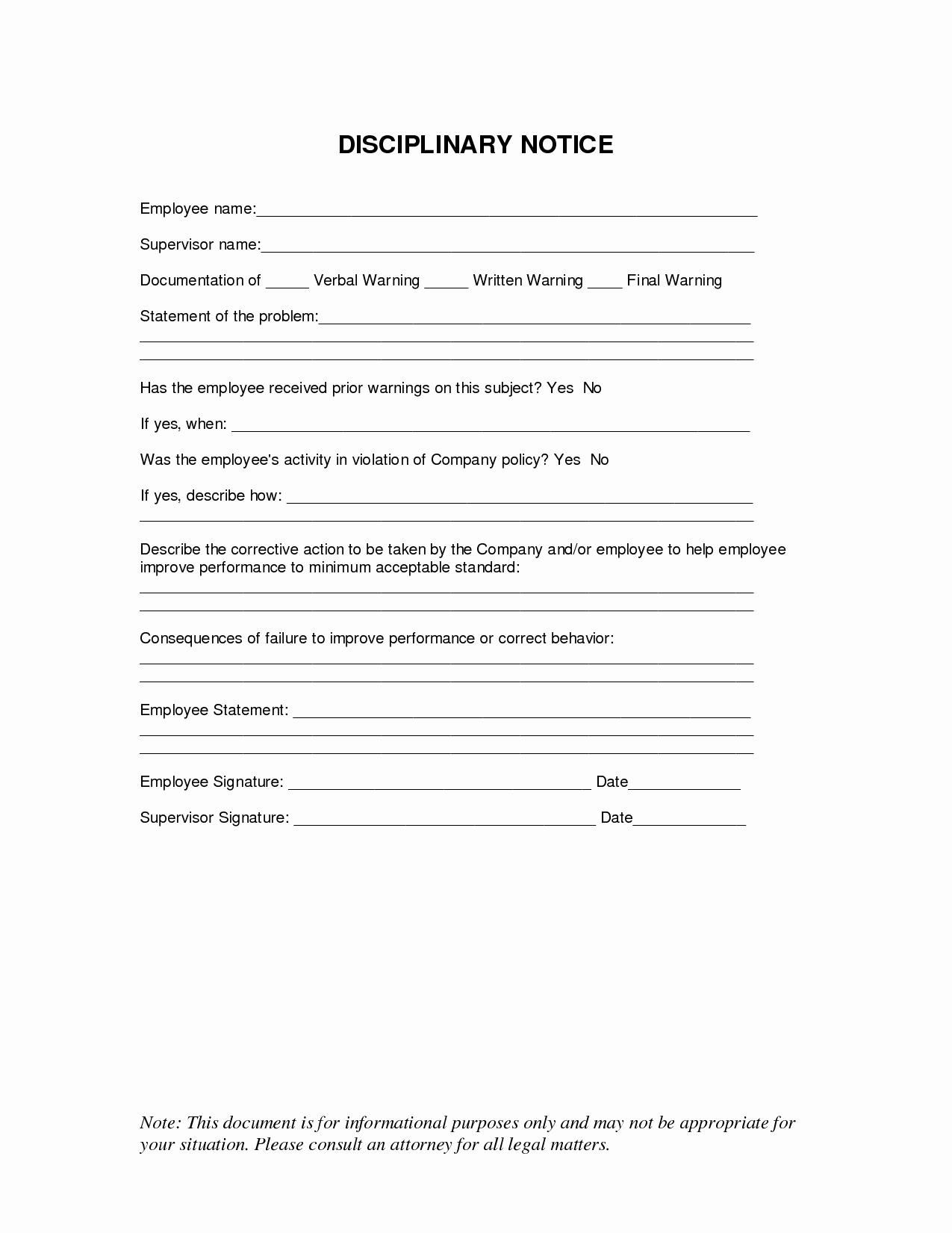 Employee Discipline form Template Best Of 10 Best Of Disciplinary Notice Template Employee