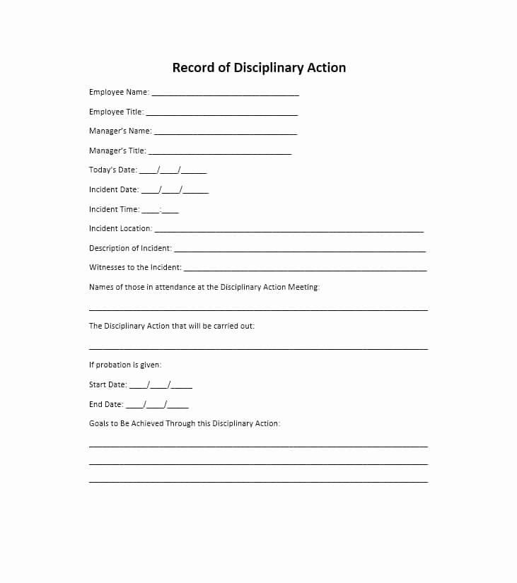 Employee Discipline form Template Best Of 40 Employee Disciplinary Action forms Template Lab