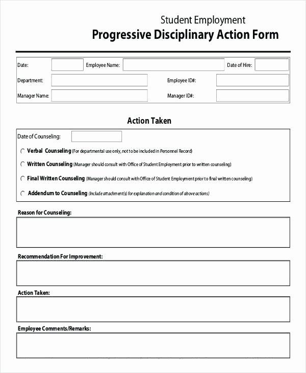 Employee Discipline form Template Fresh Employee Disciplinary Action Template Employee Write Up