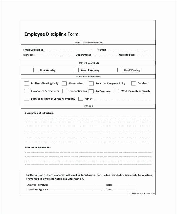 Employee Discipline form Template Inspirational Employee Discipline form 6 Free Word Documents Download