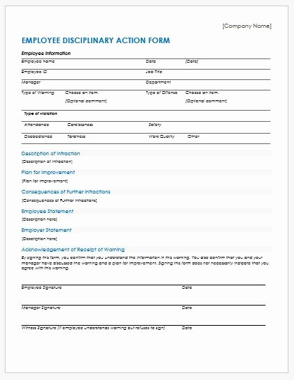Employee Discipline form Template New Employee Disciplinary Action forms for Ms Word