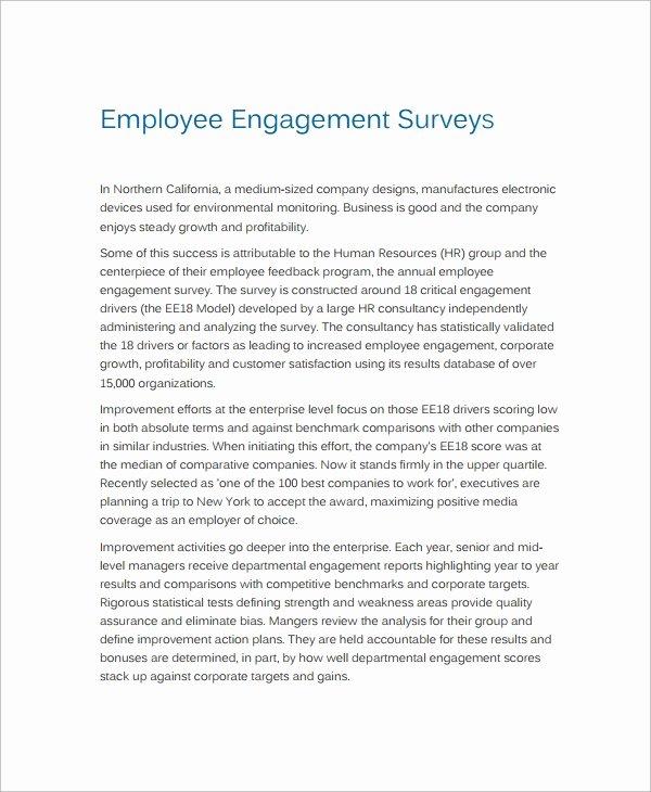 Employee Engagement Plan Template Unique 12 Employment Engagement Survey Samples