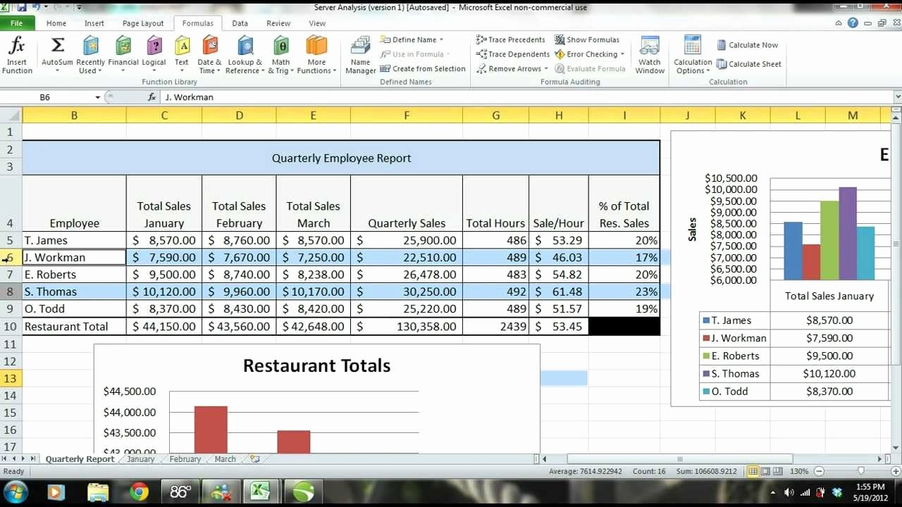 Employee Evaluation Template Excel Awesome Ms Excel 2010 Tutorial Employee Sales Performance Report