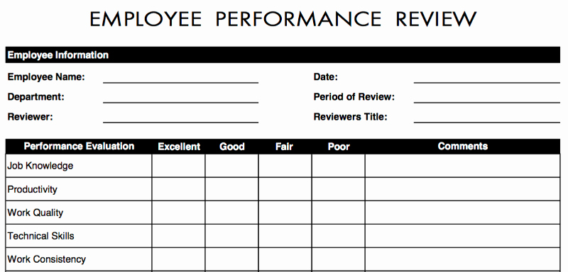 Employee Evaluation Template Excel Beautiful 70 Free Employee Performance Review Templates Word Pdf