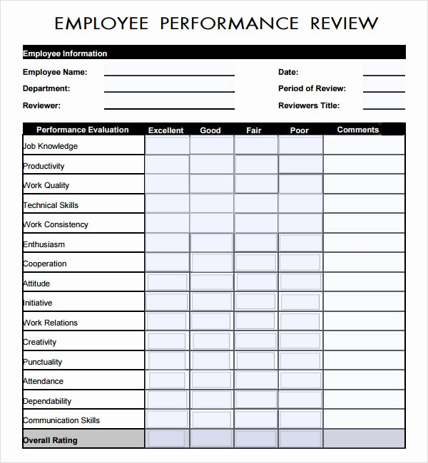 Employee Evaluation Template Excel Elegant Sample Employee Review Template 7 Free Documents