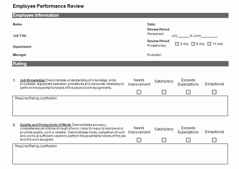 Employee Evaluation Template Excel Fresh Employee Review Template Excel Monthly Employee Review