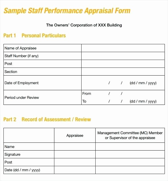 Employee Evaluation Template Excel Inspirational Annual Employee Review Template Evaluation form Samples