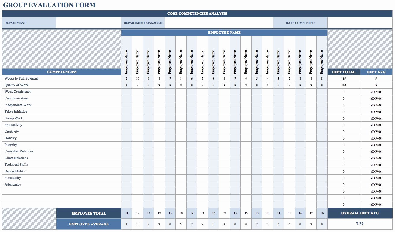Employee Evaluation Template Excel Inspirational Free Employee Performance Review Templates Smartsheet