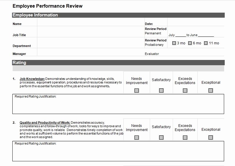 Employee Evaluation Template Excel Lovely Simple Employee Performance Review Template Excel and Word