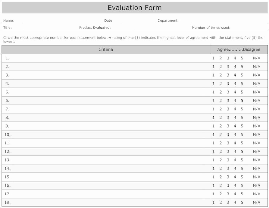 Employee Evaluation Template Excel Luxury 31 Employee Evaluation form Templates Free Word Excel