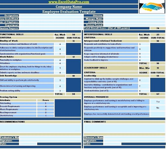 Employee Evaluation Template Excel Luxury Performance Tracking Excel Template How to Track Employee