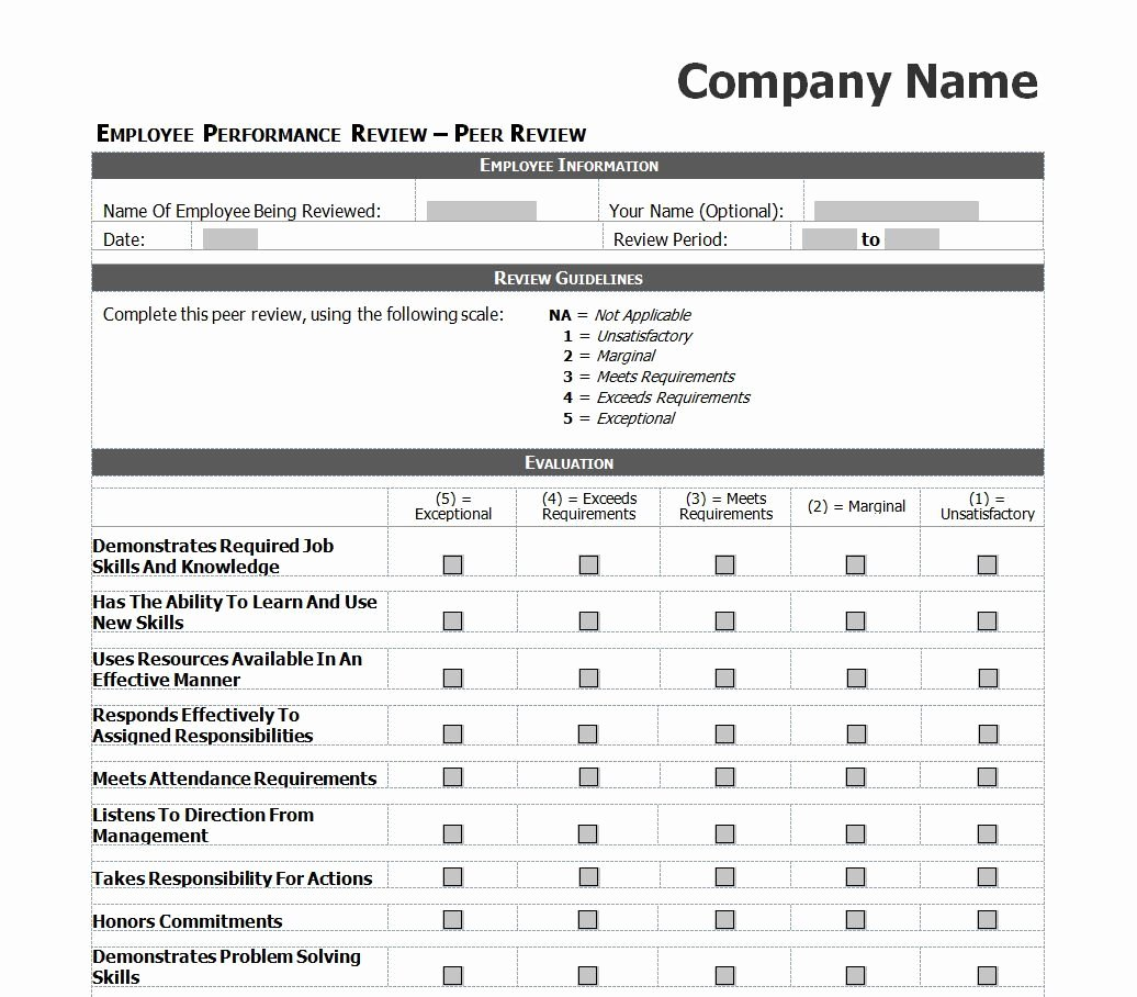 Employee Evaluation Template Excel New Employee Evaluation Template Excel Images
